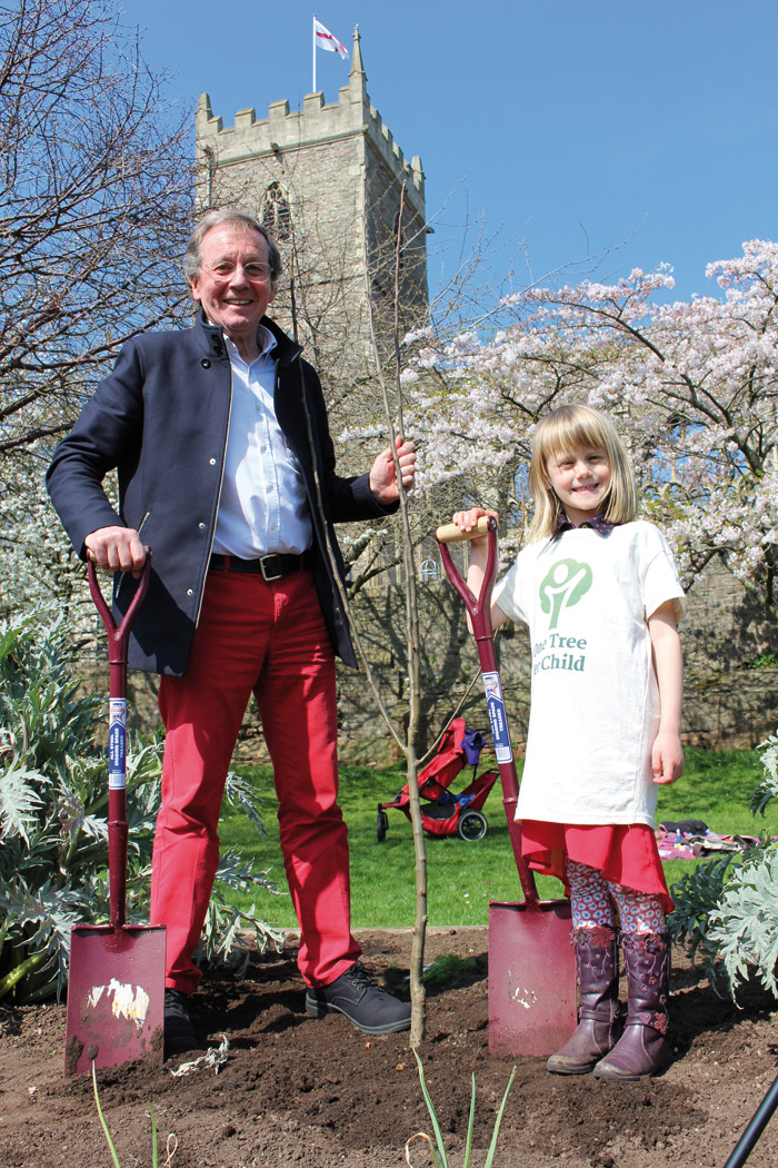The city's mayor George Ferguson, a past president of RIBA, plants trees in Bristol's Castle Park with Christina Ennion. Photo: Bristol City Council