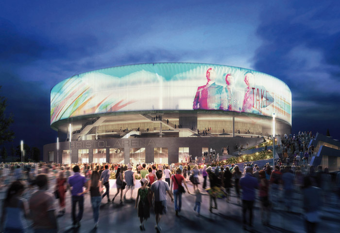 A CGI of the Bristol Arena, a 12,000-capacity venue designed by Populous and Feilden Clegg Bradley Studios, to be built in the blighted area around the Temple Meads Station. Photo: Populous