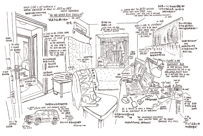 Jan Rothuizen's drawing of Li the Taxi driver's abode. Photo Credit: Courtesy Jan Rothuizen