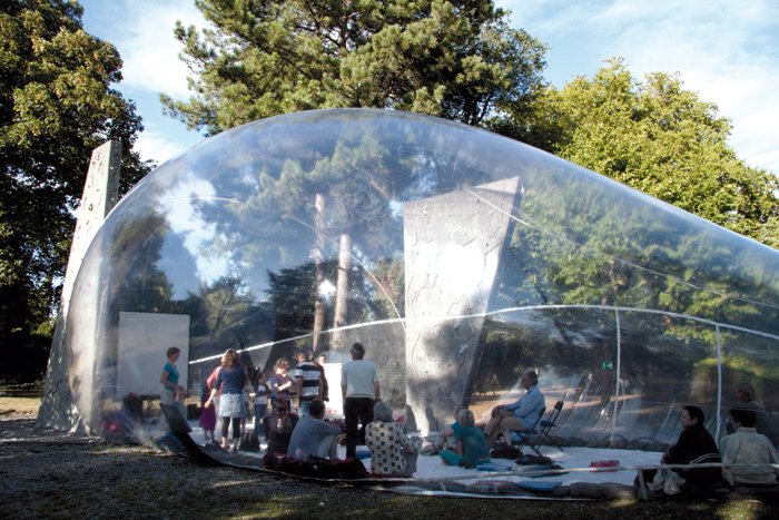 The transparent bubble fo Aeropolis popped up at different locations in Copenhagen in 2013. Photo Credit: Marco Canevacci / Simone Serlenga