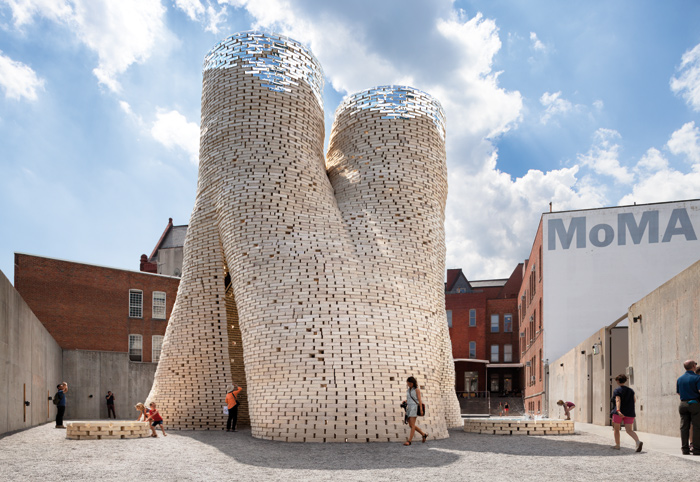 New York-based The Living created a 12m-high circular tower made of biodegradable bricks for MoMA PS1's annual Young Architects Program. Photo Credit: The living