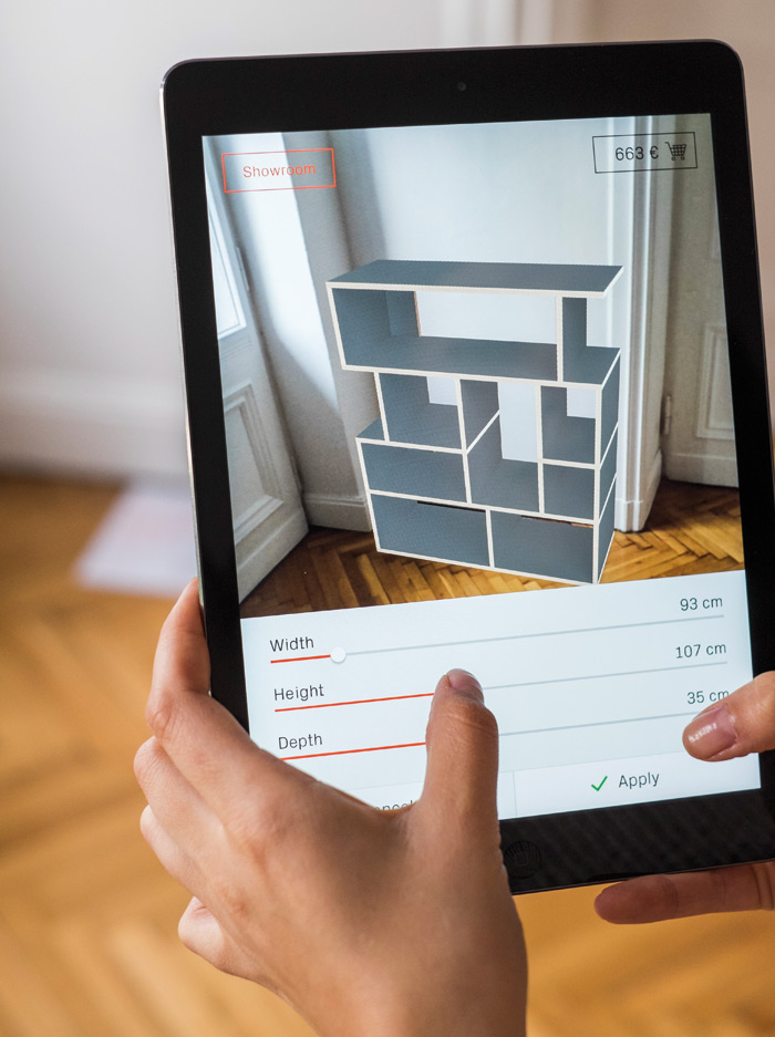 The new augmented reality app from Tylko lets you customise furniture in your own space