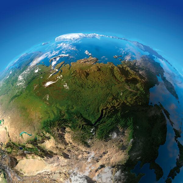 Globe focused on Russia