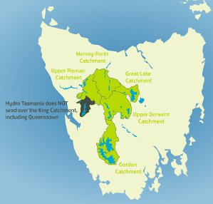 Map showing catchment areas to be seeded in 2014 (Source: Hydro Tasmania)