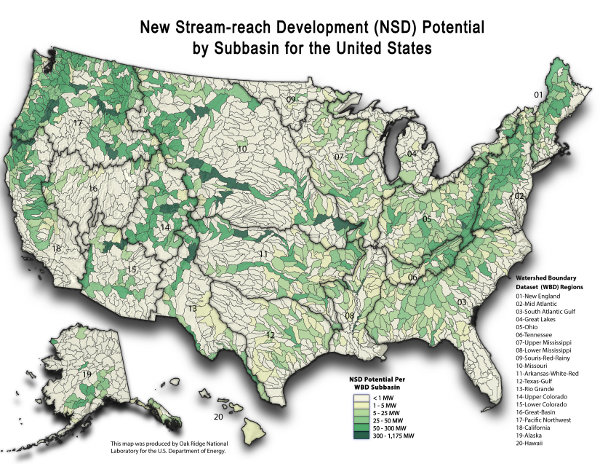 Hydropower potential in the USA (Map source ORNL)