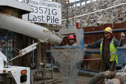 Last pile poured for new cut-off wall (Source: USACE)
