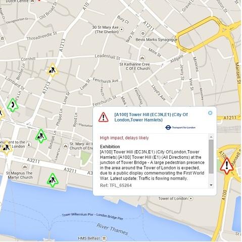 Roadworks.org screenshot of Central London on November 12, 2014