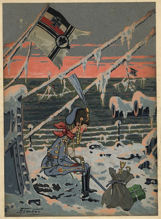 A Panin, On the Frozen Ship, 1914, gouache on paper. Courtesy of GRAD