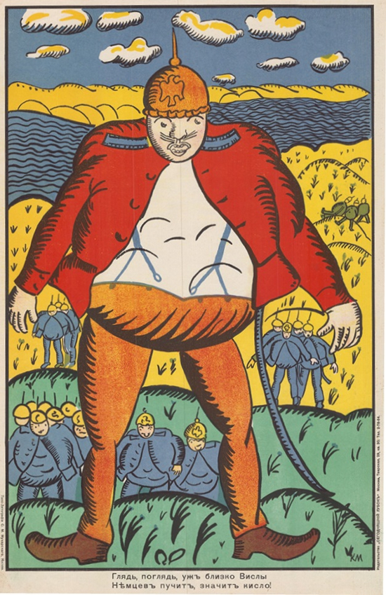 Kazimir Malevich, Look Look, Near the Vistula, The German Bellies are Swelling Up, 1914, lithograph. Courtesy of GRAD