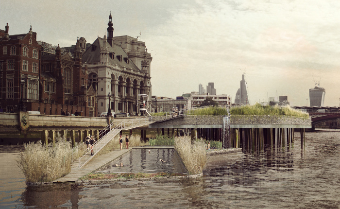 Visual of Thames Baths in detail at Blackfriars Bridge North Foreshore, visualiser 'Picture Plane'