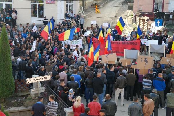 Rosia mining protest Romania