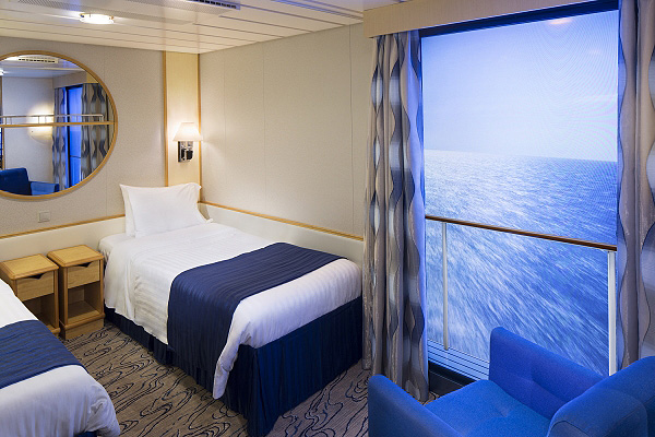 Virtual balcony for cruise ships