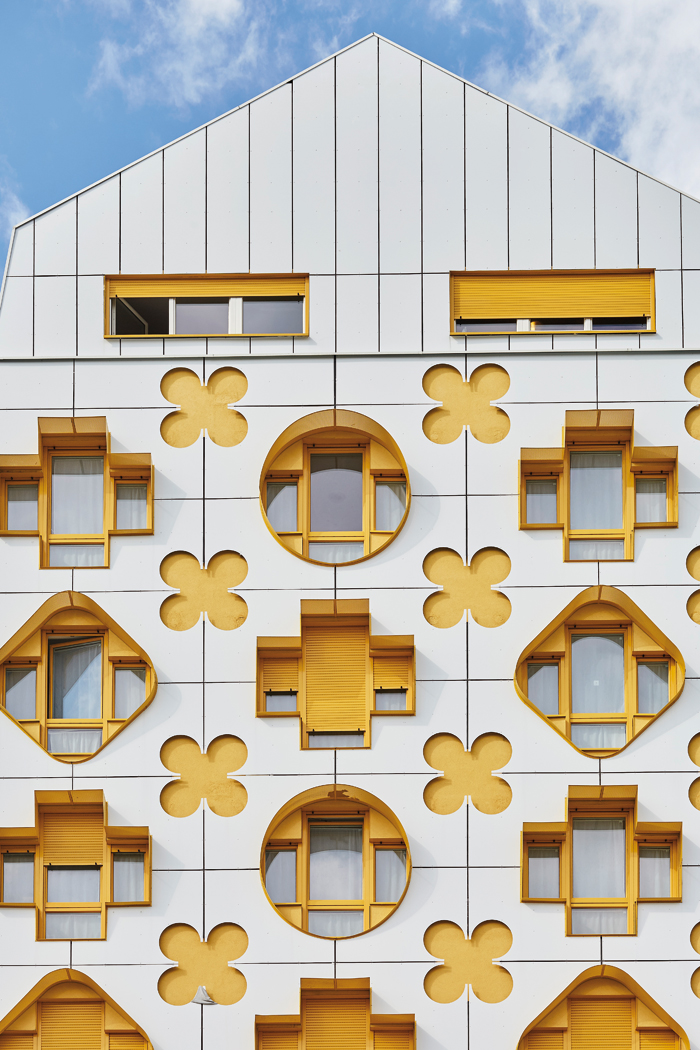The facade of Stéphane Maupin's block is inspired by luxury bags
