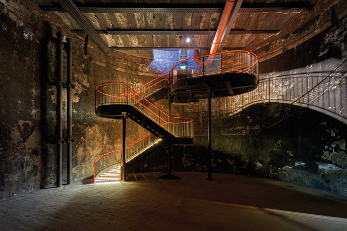The cylindrical underground space is now entered via a new staircase designed by Tate Harmer