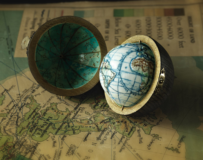 Small but perfectly formed: a globe and case from Loraine Rutt