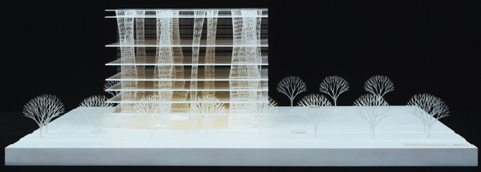Toyo Ito. Sendai Mediatheque, Miyagi, Japan. 1995–2001. Acrylic model