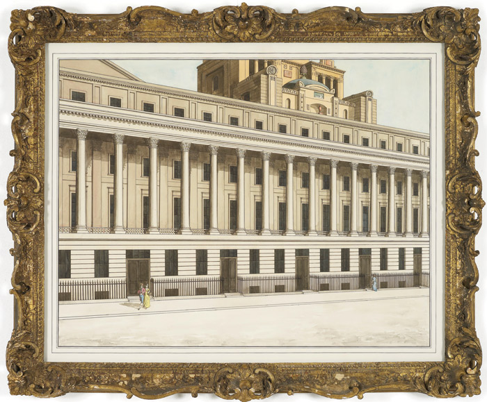 Pablo Bronstein: Terraces by Nash with an attic by Soane (2011). This ink and watercolour features the Pall Mall terrace, a section of which the ICA occupies. This work was exhibited in Bronstein's Regency Living show there