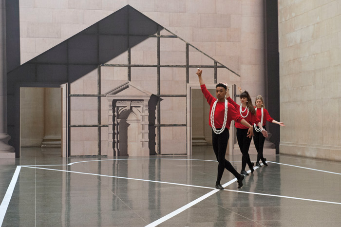 Dancers position themselves on lines laid upon the Duveen floors. Photo: Pablo Bronstein (b. 1977). Historical Dances in an antique setting, 2016. Photograph: Brothertonlock. © Pablo Bronstein