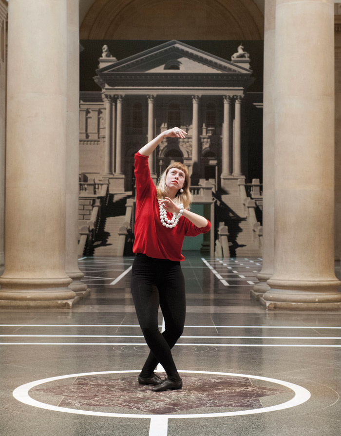 Strike a pose! Bronstein's choreography expresses baroque 'sprezzatura' as well as having elements from later times, such as the 'pedestrian' school of movement. Photo: Pablo Bronstein (b. 1977). Historical Dances in an antique setting, 2016. Photograph: Brothertonlock. © Pablo Bronstein