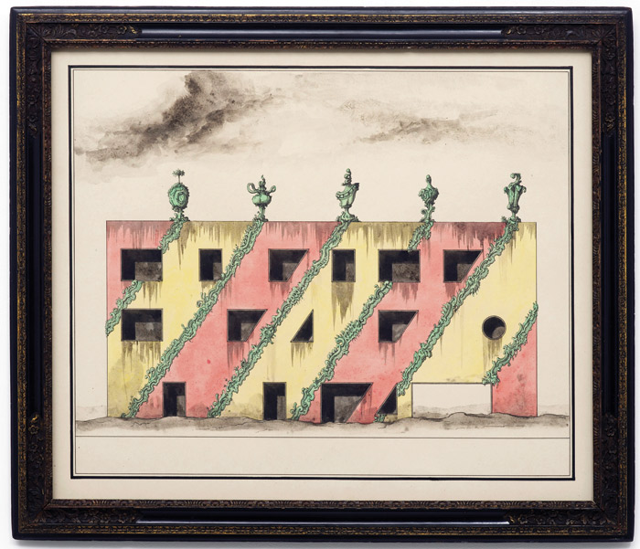 Pablo Bronstein: European building from the 1990's subsequently redecorated and abandoned (2014) Ink and watercolour in artist's frame. Photo: Courtesy Herald St