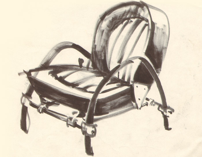 An original Ron Arad sketch for the chair
