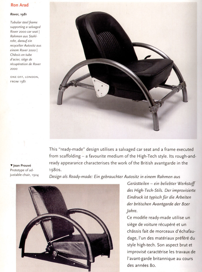 During the talk Ron Arad complained that Jean Prouvé (8) copied his chair (7) — '50 years earlier!'