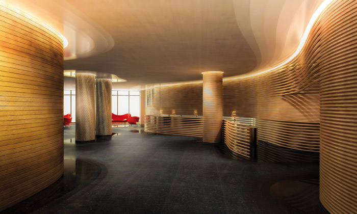 Current work by Ron Arad Studio includes the public areas for the infamous Watergate Hotel in Washington DC. The hotel will have a whisky bar made from whisky bottles