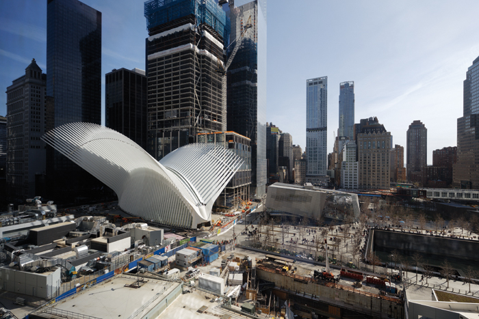 Inspired by a dove being released, the 50m-tall 'wings' look over the World Trade Center site, still under construction